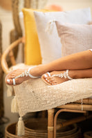 white eather sandals with strass
