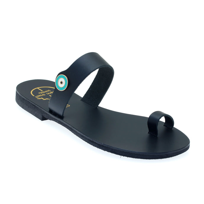 Black leather sandals with evil eye motif embellishment