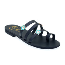 Load image into Gallery viewer, Black leather sandals with evil eye embellishments