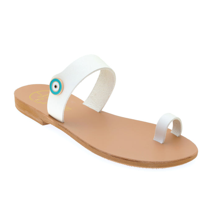 Off white leather sandals with evil eye motif embellishment