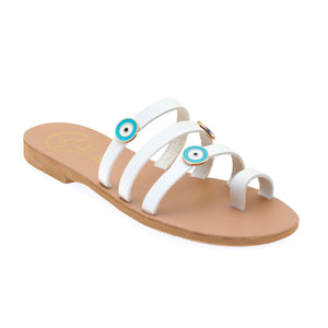 Off white leather sandals with evil eye embellishments
