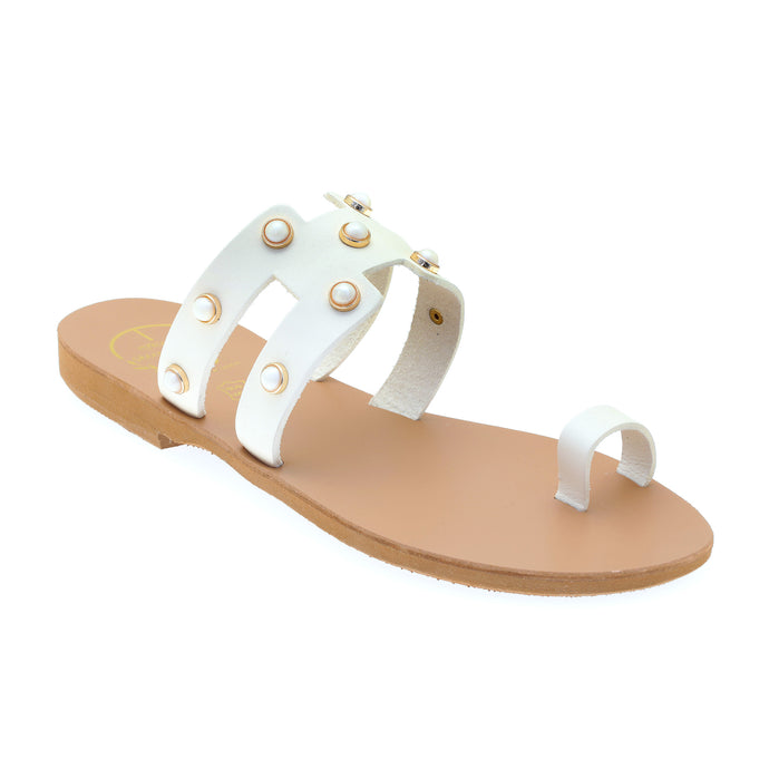 Off white leather sandals with pearl studs