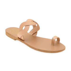Nude leather sandals with braided strap