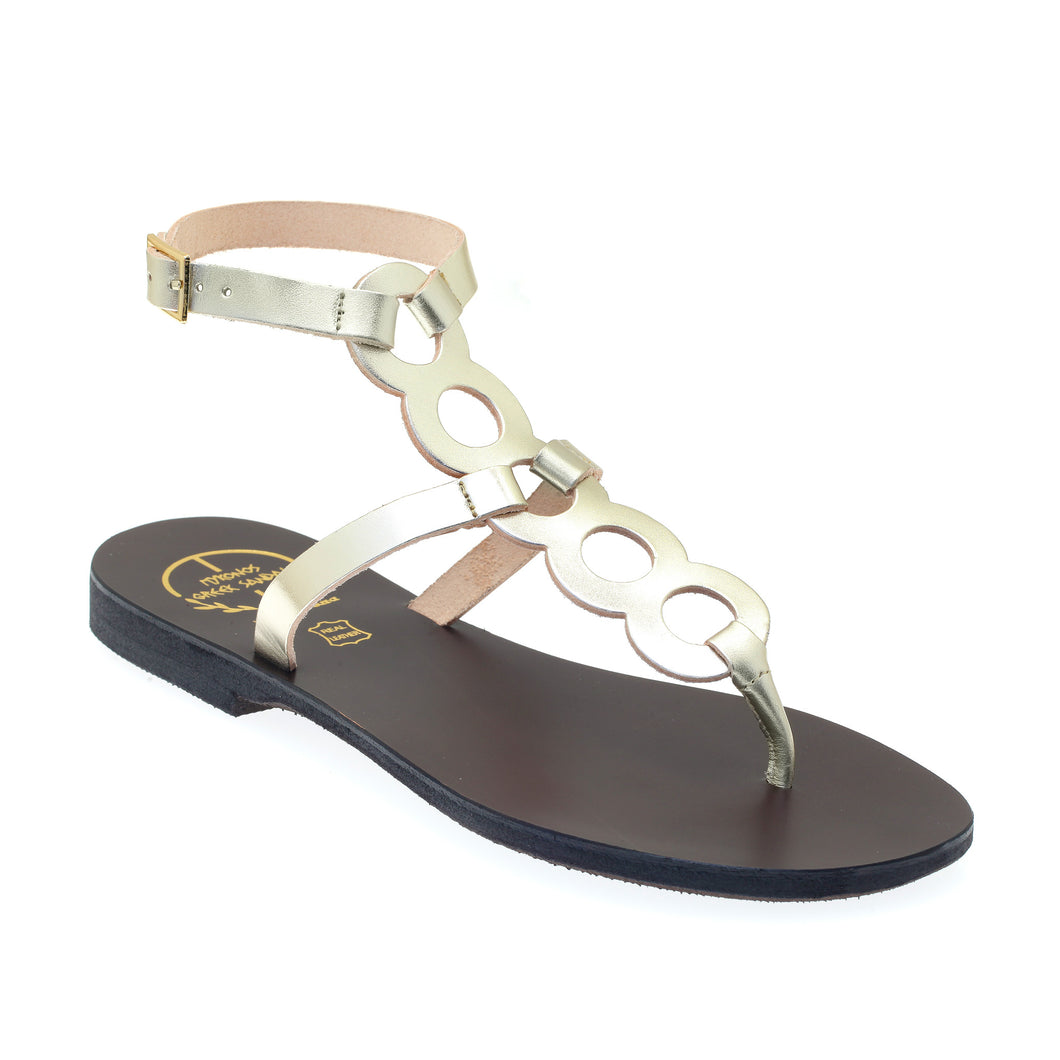Platinum gold high ankle leather sandals