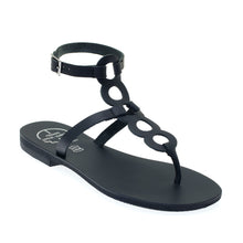 Load image into Gallery viewer, Black high ankle leather sandals