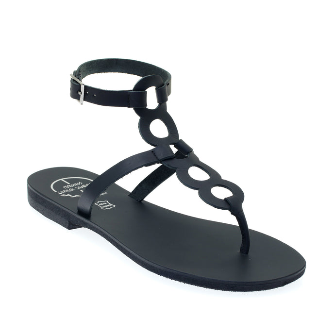 Black high ankle leather sandals