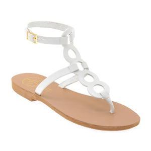 White high ankle leather sandals