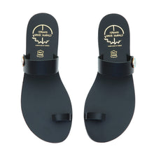 Load image into Gallery viewer, Black leather sandals with evil eye motif embellishment