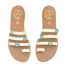 Load image into Gallery viewer, Off white leather sandals with evil eye embellishments