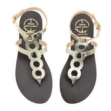 Load image into Gallery viewer, Platinum gold high ankle leather sandals