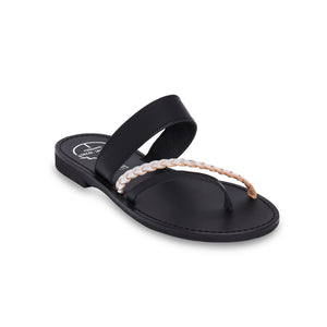 black ancient greek leather sandals for women