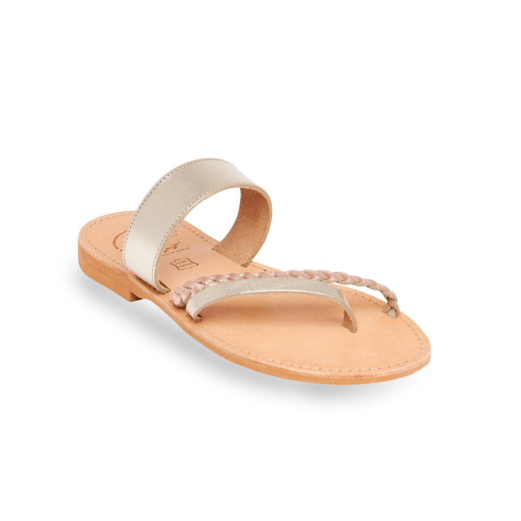 gold ancient greek leather sandals for women