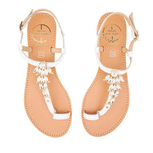 Load image into Gallery viewer, white leather sandals with strass