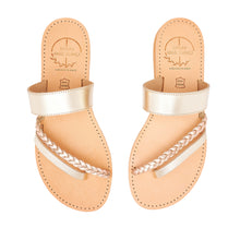 Load image into Gallery viewer, gold ancient greek leather sandals for women