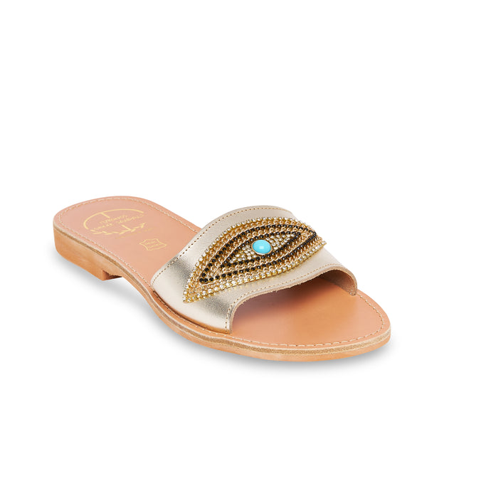 leather sandals with strass for women