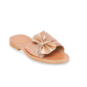 pink leather sandals with bow