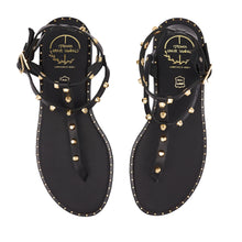 Load image into Gallery viewer, black leather sandals with studs for women