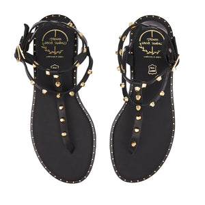 black leather sandals with studs for women