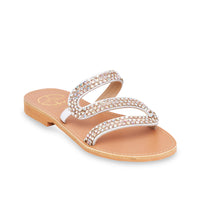 Load image into Gallery viewer, white flat leather sandals with strass