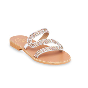 white flat leather sandals with strass