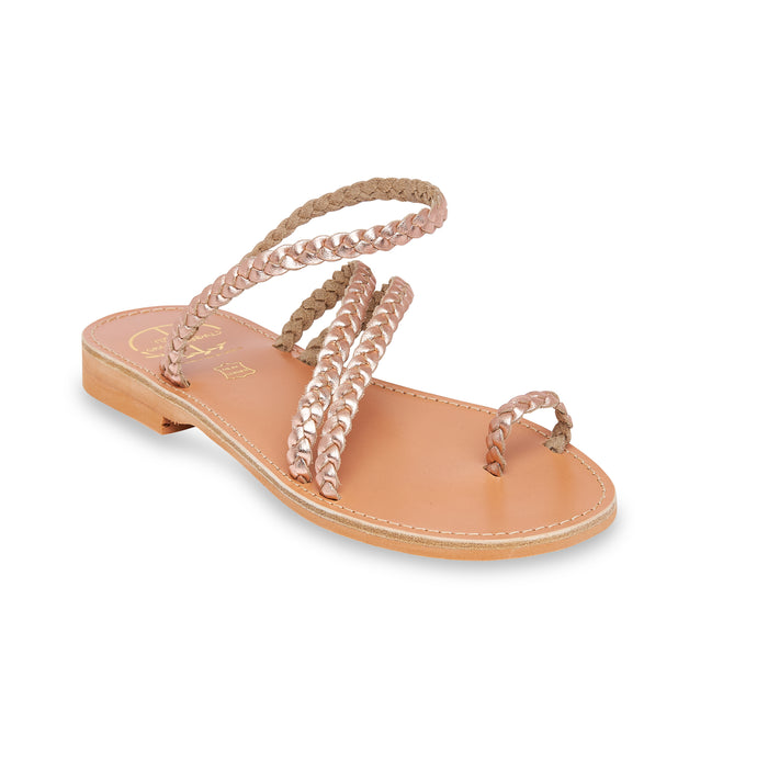 pink gold  women leather sandals