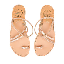 Load image into Gallery viewer, pink gold leather sandals