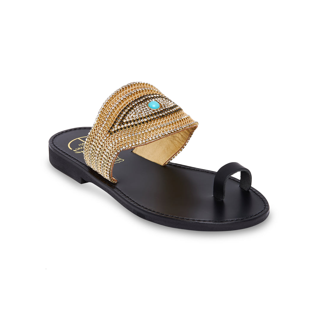 black leather sandals with golden strass for women
