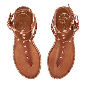 brown  leather sandals with studs for women