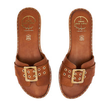Load image into Gallery viewer, brown women leather sandals with studs