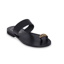 Load image into Gallery viewer, black leather sandals with strass