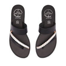 Load image into Gallery viewer, black ancient greek leather sandals for women