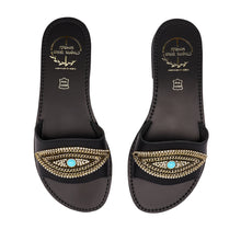 Load image into Gallery viewer, black leather sandals with strass for women