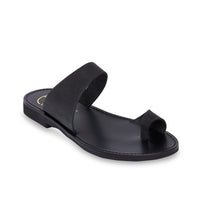 Load image into Gallery viewer, black nubuck leather sandals