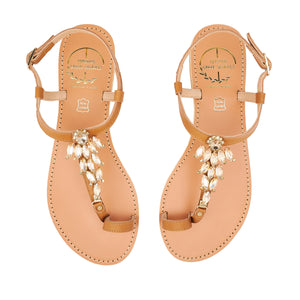 tan leather sandals with strass