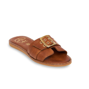brown women leather sandals with studs