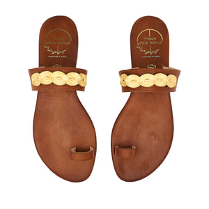 brown  leather sandals with golden ornaments for women