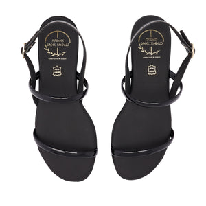 black leather sandals for women