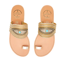 Load image into Gallery viewer, leather sandals with golden strass for women