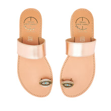 Load image into Gallery viewer, pink gold leather sandals with strass