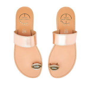 pink gold leather sandals with strass