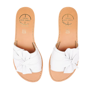 white leather sandals with bow