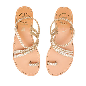 gold women leather sandals