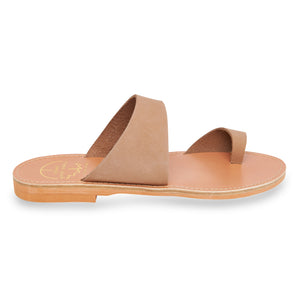 nude nubuck leather sandals