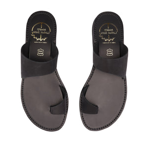 black nubuck leather sandals