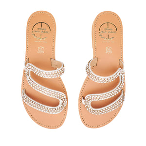 white leather sandals with strass
