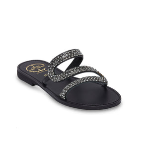 black leather sandals with strass