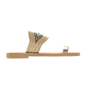 leather sandals with golden strass for women