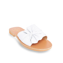 Load image into Gallery viewer, white leather sandals with bow