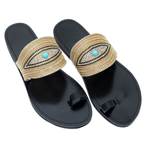 black leather sandals with strass for women
