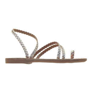 gold women ancient greek  leather sandals